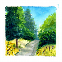 'Path with bluebells 2' - Original Watercolour Painting - 11x11 cm