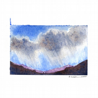 'Clouds study 1' - Original Watercolour Painting - 9,5x13 cm