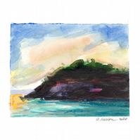 'Purple island' - Original Watercolour Painting - 8.5 x 10.5 cm