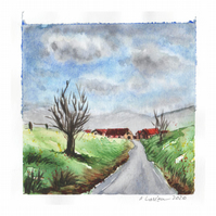 'Way to the village' - Original Watercolour Painting - 10x10 cm