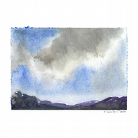 'Clouds study 2' - Original Watercolour Painting - 9,5x13 cm