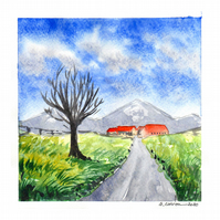 'Way to the village 2' - Original Watercolour Painting - 15x15 cm