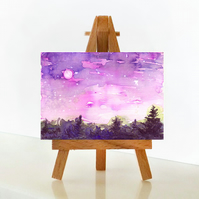 'Pink moon over forest' - ACEO Original Mixed Media Painting