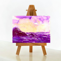 'Purple sea' - ACEO Original Mixed Media Painting
