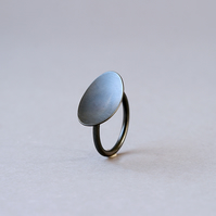 Black Oval Sterling Silver Ring