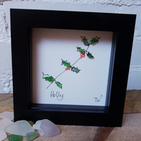 Christmas sea glass picture. Holly