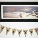 Stag Head - Christmas Bunting Beige and Red