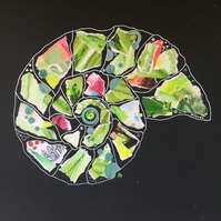 Ammonite: Summer Meadow - Original Collage Painting