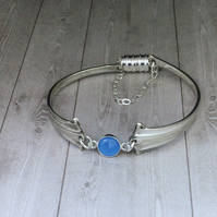 Teaspoon handle bracelet with rose cut blue chalcedony