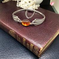 Art Deco style coffee spoon handle bracelet with amber