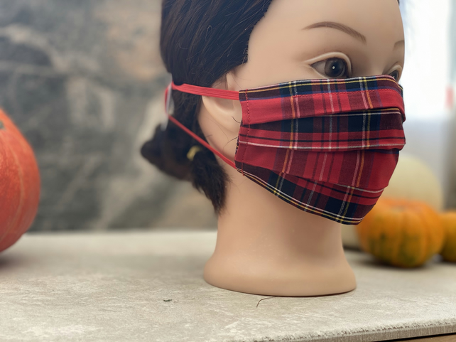 Red plaid tartan face mask