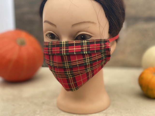 Gold threaded red face mask