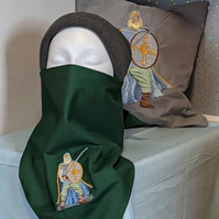 Adult face covering with embroidered Viking warrior motif