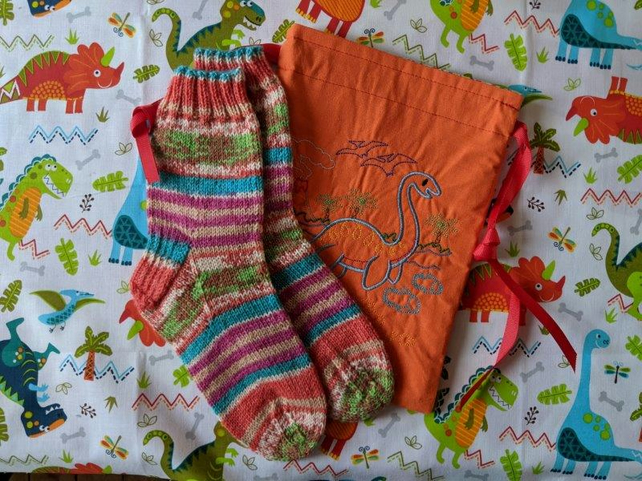 Traditionally hand knitted socks for children