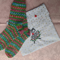 Christmas socks with sparkle complete with gift pocket