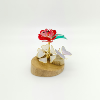 Poppies and butterfly ornament, little driftwood and wire sculpture