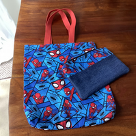 Spiderman tote bag and pencil case