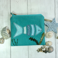 Fish design coin purse, Zipped purse, Fabric pouch.