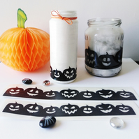 Halloween 2 pieces of Pumpkin Stickers for Bottle, Choose Width and Colour