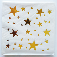 20 Gold Star Paper Napkin for Birthday, Wedding, Party, Christmas, Anniversary