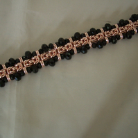 Rose Gold and Black Crystal Beaded Byzantine Bracelet