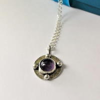 Amethyst pendant - celtic design recycled silver antiqued amethyst necklace