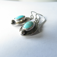 Short drop earrings with turquoise  - celtic design in recycled sterling silver