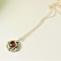 Amber pendant - celtic design recycled silver antiqued turquoise necklace