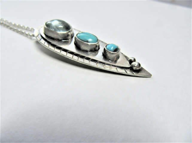 Turquoise and aquamarine pendant - recycled sterling silver