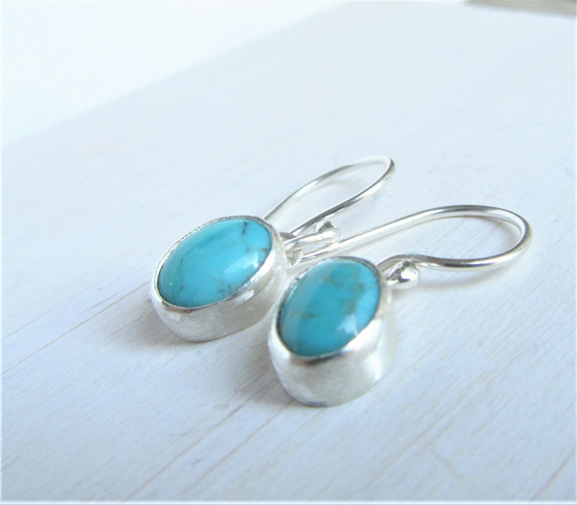Turquoise Earrings - tiny drop earrings made with recycled sterling silver