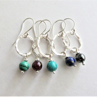 Recycled silver earrings - hoop earrings with semi precious bead drops