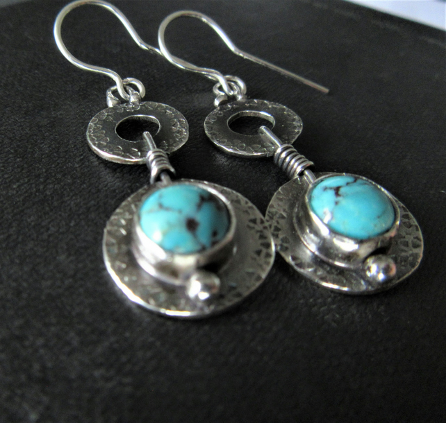 Long drop earrings with turquoise  - celtic design in recycled sterling silver
