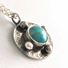 Turquoise celtic pendant - celtic design recycled silver antiqued turquoise