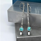 Turquoise earrings - long slender drop in recycled sterling silver