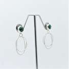 Malachite earrings - malachite stud earrings with recycled sterling silver hoops