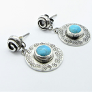Short drop turquoise earrings - celtic design- recycled  silver - round earrings