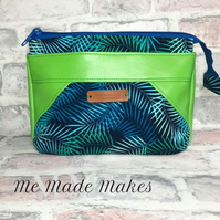 Lime Green and Blue Toiletry bag, wash bag, Ladies wash bag, beachcomber pouch