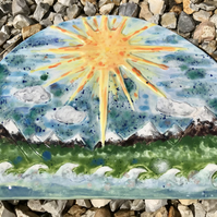 Rough seas ceramic wall hanging