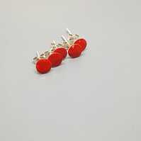 Tiny Sterling Silver Rainbow Spot Earrings - Red