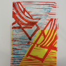 Deck Chairs, original collage, hand printed, friends meet me at the beach!