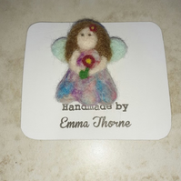 Needle Felted Guardian Angel Brooch