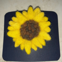 Needle Felted Sunflower Brooch