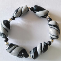 Black,silver and grey twist polymer clay adjustable bracelet