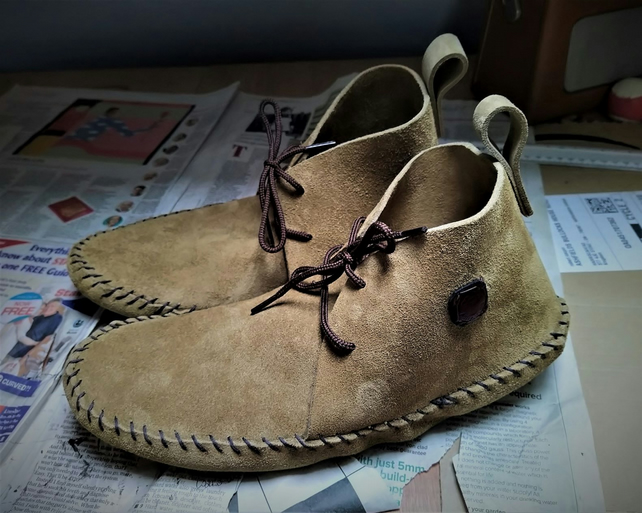 Hand stitched moccasins
