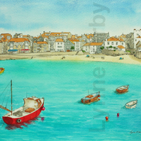 St Ives Cornwall Print. Mounted to 14x11""