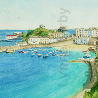 Tenby Wales Print. Mounted to 14x11""
