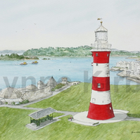 Plymouth Lighthouse Smeaton Tower Print. Mounted to 14x11""
