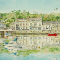 Padstow Harbour Cornwall Art Print mounted to 14x11