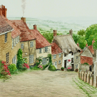 Gold Hill, Shaftesbury Mounted Art Print.