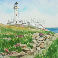 Mull of Galloway Lighthouse Scotland Print. Mounted to 11x14""